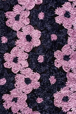 Tkanina koronka róże 3D - granatowo-różowa - 130cm 180g/m2 thumbnail