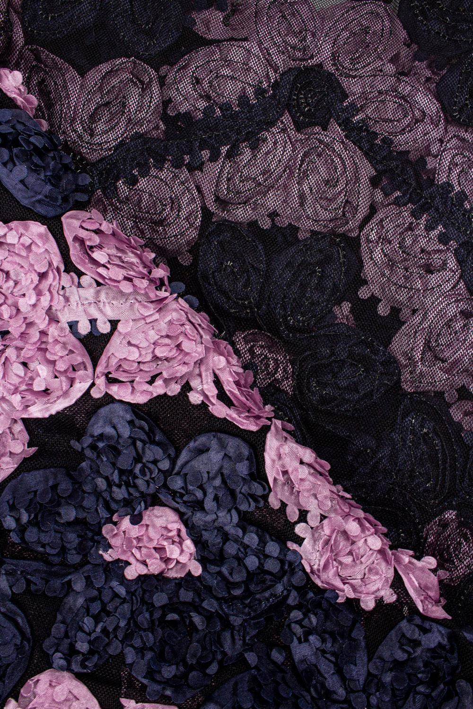 Tkanina koronka róże 3D - granatowo-różowa - 130cm 180g/m2