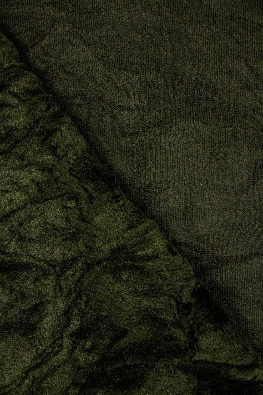 Tkanina zielona eko-futro a'la karakuł - 155cm 570g/m2
