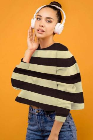 Knit - Sweatshirt Fleece - Beige With Brown Stripes - 170 cm - 280 g/m2 thumbnail