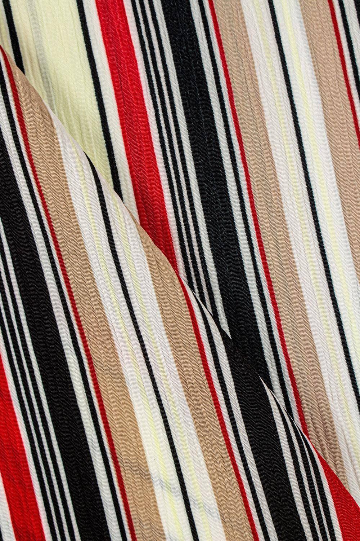 Fabric - Crepe - Ecru With Black-Red-Beige Stripes - 150 cm - 130 g/m2