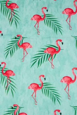 Dzianina sukienkowa turkusowa z nadrukiem subliamcyjnym - flamingi - 155cm 130g/m2 thumbnail
