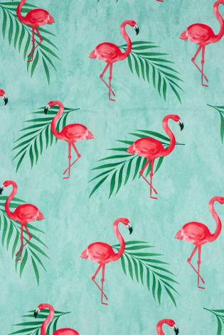 Knit - Leggings/Dress Knit - Turquoise With Flamingos - 155 cm - 130 g/m2 thumbnail