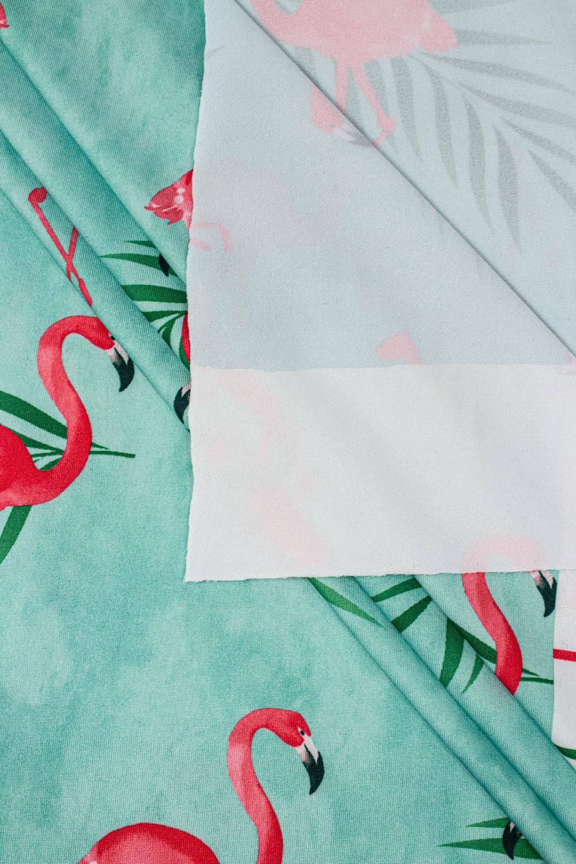 Dzianina sukienkowa turkusowa z nadrukiem subliamcyjnym - flamingi - 155cm 130g/m2