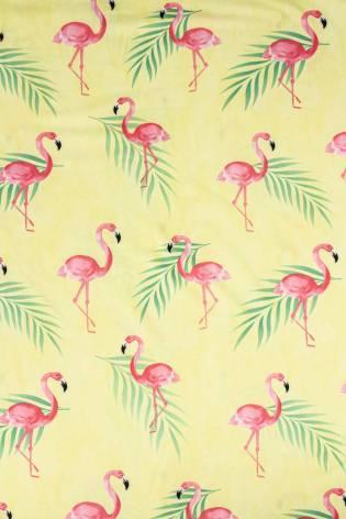 Knit - Leggings/Dress Knit - Yellow With Flamingos - 155 cm - 130 g/m2 thumbnail
