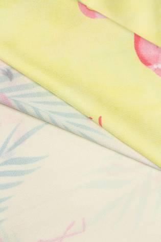 Dzianina sukienkowa żółta z nadrukiem subliamcyjnym - flamingi - 155cm 130g/m2 thumbnail