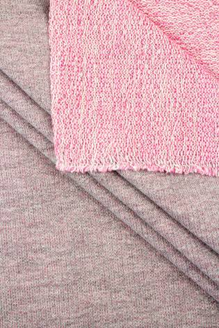 Knit - French Terry - Grey Melange With Pink Bottom Layer - 180 cm - 255 g/m2 thumbnail