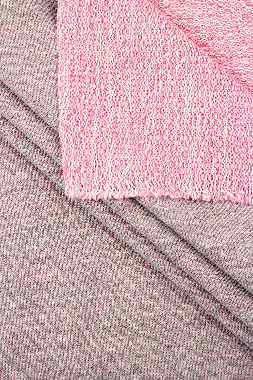 Dzianina dresowa pętelka szary melanż z różowym spodem 180cm 255g/m2