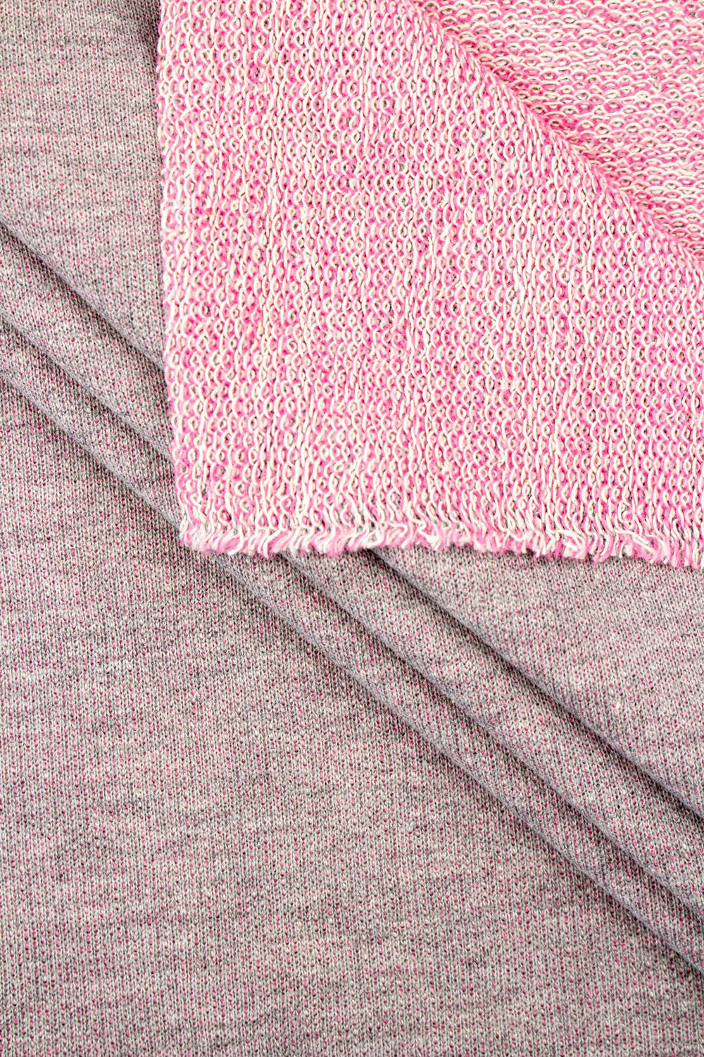 Knit - French Terry - Grey Melange With Pink Bottom Layer - 180 cm - 255 g/m2