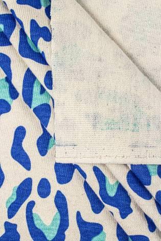 Knit - Jersey - Thick - Ecru With Blue Leopard Pattern - 165 cm - 290 g/m2 thumbnail