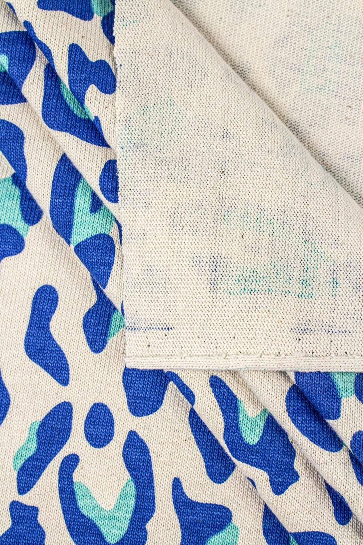 Dzianina jersey gruby - śmietankowy niebieskie centki - 165cm 290g/m2