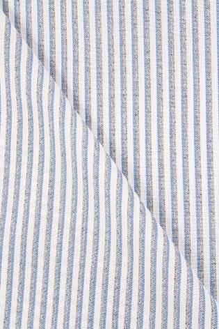 Fabric - Linen - Grey & Blue Stripes - 150 cm - 190 g/m2 thumbnail