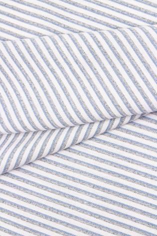 Tkanina lniana w paski - szaro niebieskie - 150cm 190g/m2 thumbnail