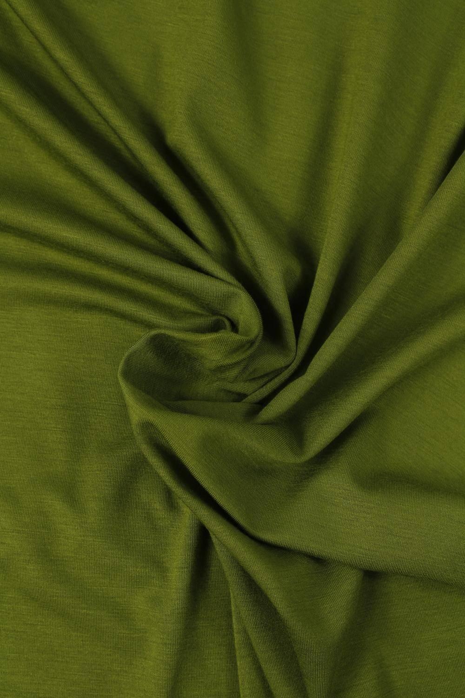 Dzianina jersey wiskozowy zielony khaki KUPON 2 MB