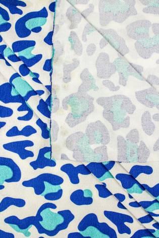 Knit - Viscose Jersey - Blue Leopard Pattern - 230 cm - 170 g/m2 thumbnail