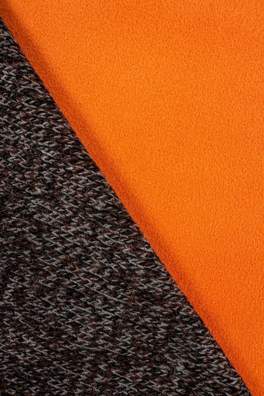 Dzianina sweterkowa wełniana na pomarańczowym polarze - 150cm 380g/m2