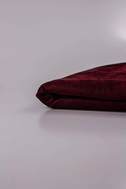 Tkanina zamszowa na dzianinie - bordowy - 165cm 270g/m2