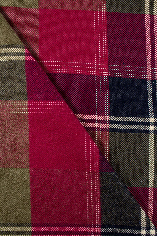 Fabric - Flannel - Red-beige-black/navy blue - Checkered Pattern - 155 cm - 260 g/m2