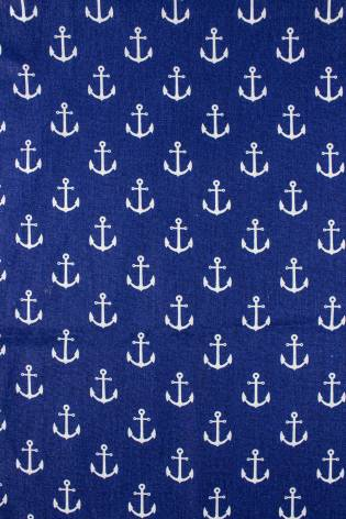 Fabric - Cotton - Royal Blue With Ancors - 160 cm - 125 g/m2 thumbnail