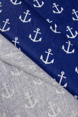 Tkanina bawełniana - niebieska w kotwice - 160cm 125g/m2 thumbnail