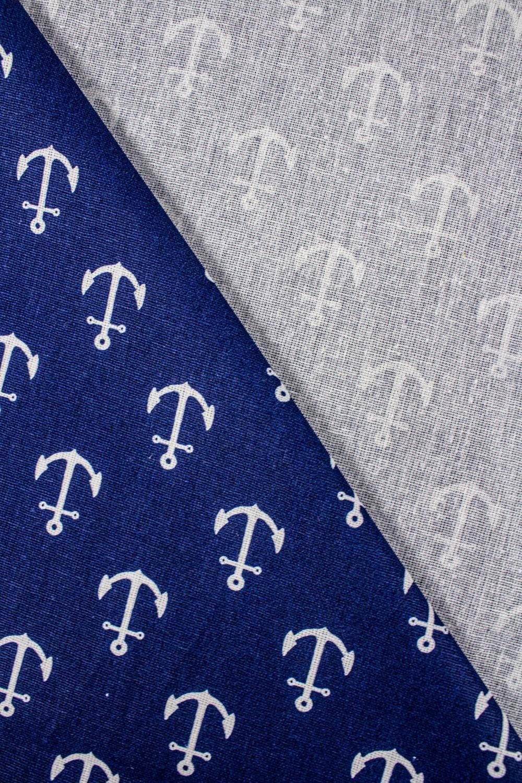 Tkanina bawełniana - niebieska w kotwice - 160cm 125g/m2
