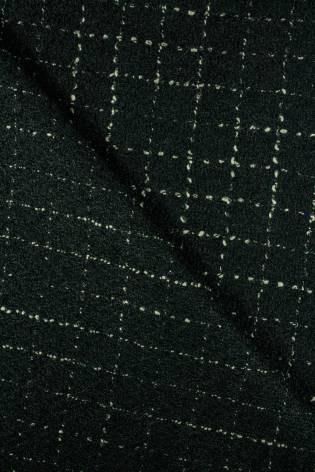 Fabric - Woolen - Dark Green With Delicate Checkered Pattern - 140 cm - 360 g/m2 thumbnail