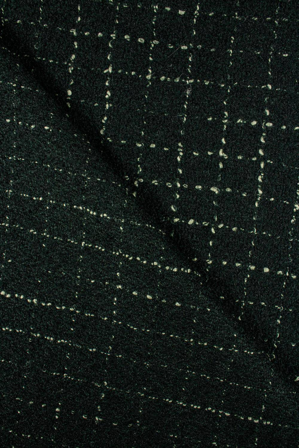 Fabric - Woolen - Dark Green With Delicate Checkered Pattern - 140 cm - 360 g/m2