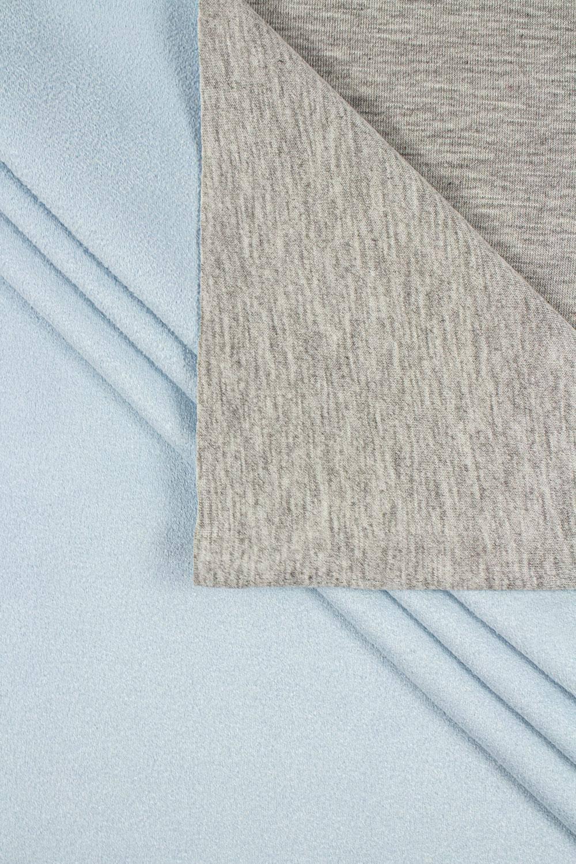 Dzianina dwustronna alpinefleece łączona - jersey/zamsz błękitna - 155cm 350g/m2