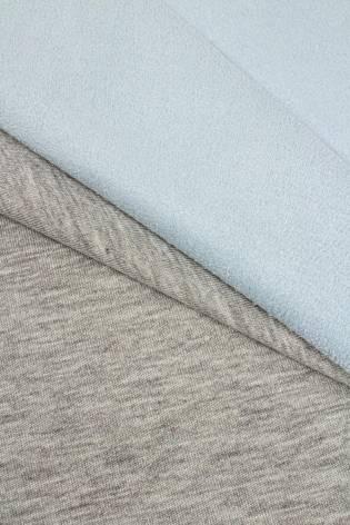 Dzianina dwustronna alpinefleece łączona - jersey/zamsz błękitna - 155cm 350g/m2 thumbnail