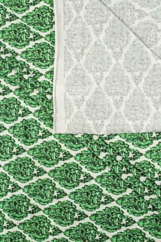 Dzianina jersey wiskozowy z zielonym ornamentem - 160cm 190g/m2 thumbnail