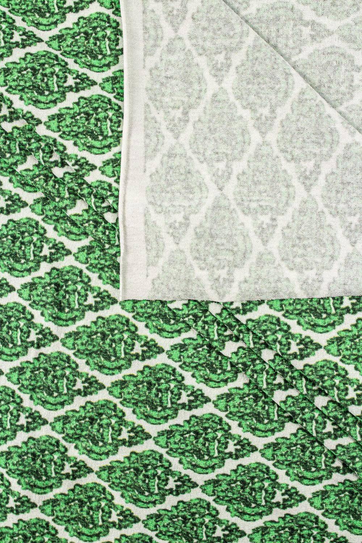 Dzianina jersey wiskozowy z zielonym ornamentem - 160cm 190g/m2