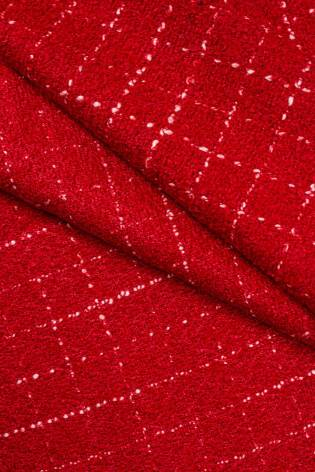 Fabric - Woolen - Red With Delicate Checkered Pattern - 140 cm - 360 g/m2 thumbnail