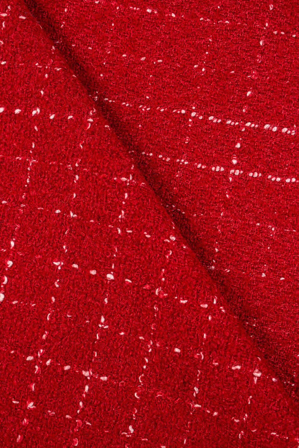 Fabric - Woolen - Red With Delicate Checkered Pattern - 140 cm - 360 g/m2
