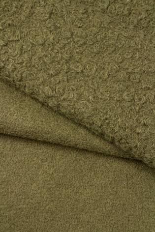 Tkanina boucle  - khaki - 150cm 360g/m2 thumbnail