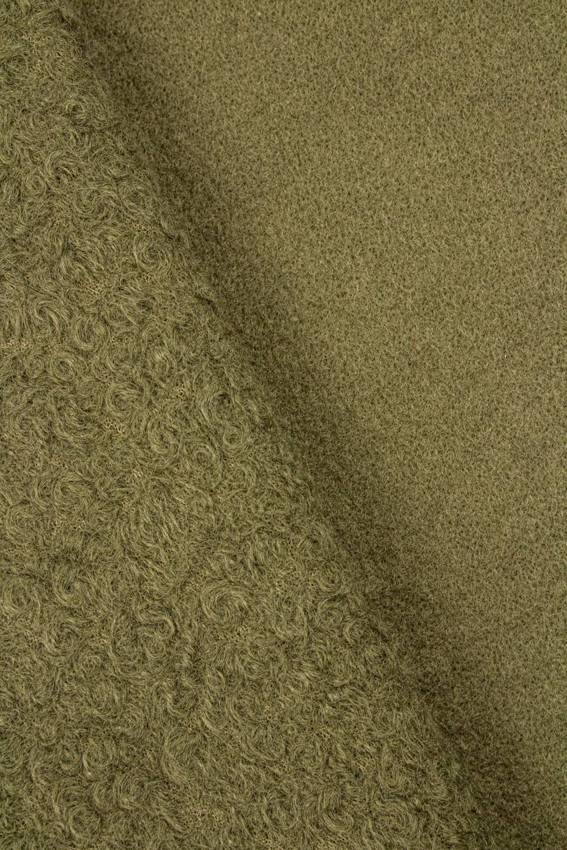 Tkanina boucle ala włosy anioła - khaki - 150cm 360g/m2