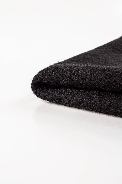 Tkanina wełniana płaszczowa boucle czarna - 150cm 480g/m2 STOK
