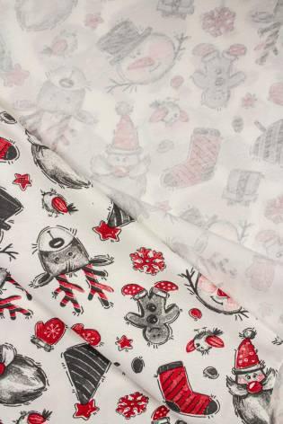 Dzianina jersey wiskozowy z śmietankowy z motywem świątecznym - 165cm 220g/m2 thumbnail