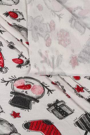 Dzianina jersey wiskozowy z śmietankowy z motywem świątecznym - 185cm 170g/m2 thumbnail