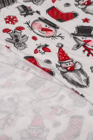 Knit - Viscose Jersey - Ecru With Christmas Pattern - 185 cm - 170 g/m2 thumbnail