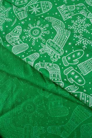 Dzianina bawełniana - zielona z motywem świątecznym - 165cm 150g/m2 thumbnail