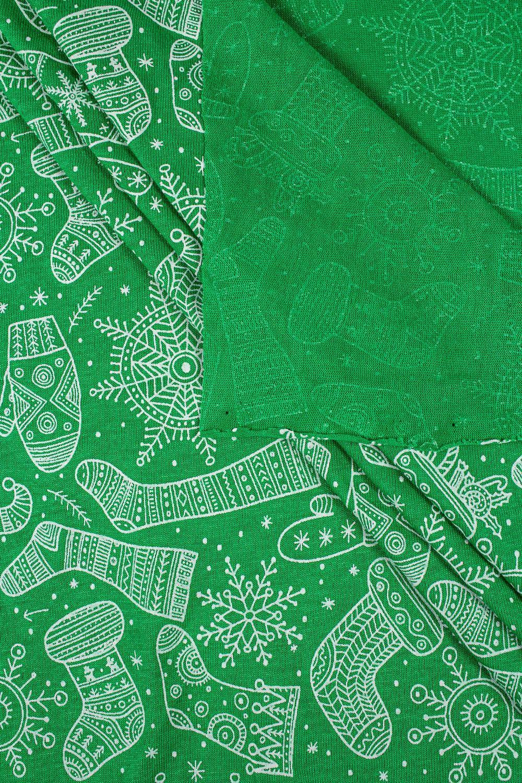Dzianina bawełniana - zielona z motywem świątecznym - 165cm 150g/m2
