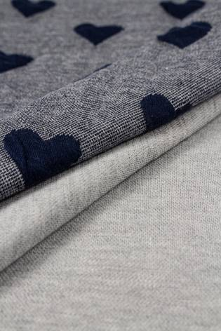 Knit - Sweatshirt Jacquard - Grey/Blue With Hearts - 120 cm - 310 g/m2 thumbnail