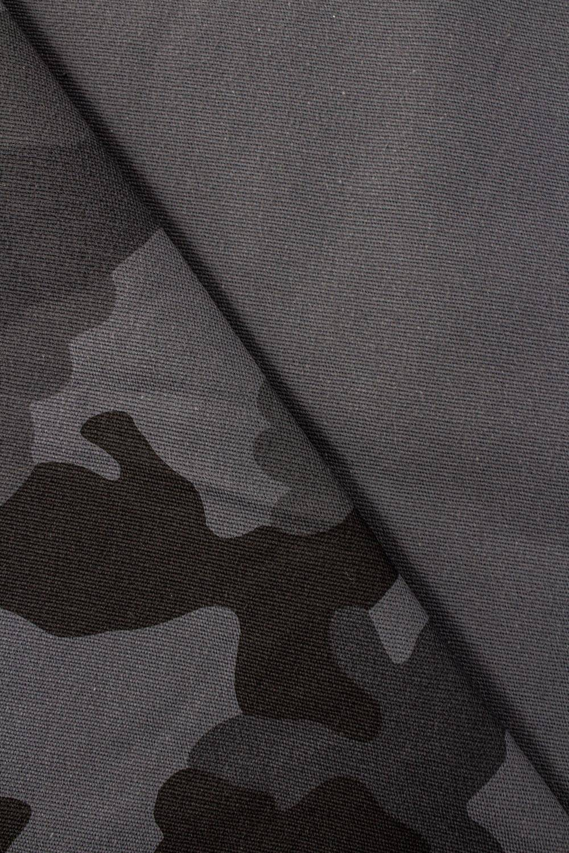 Tkanina bawełniana - grafitowa w moro - 130cm 260g/m2