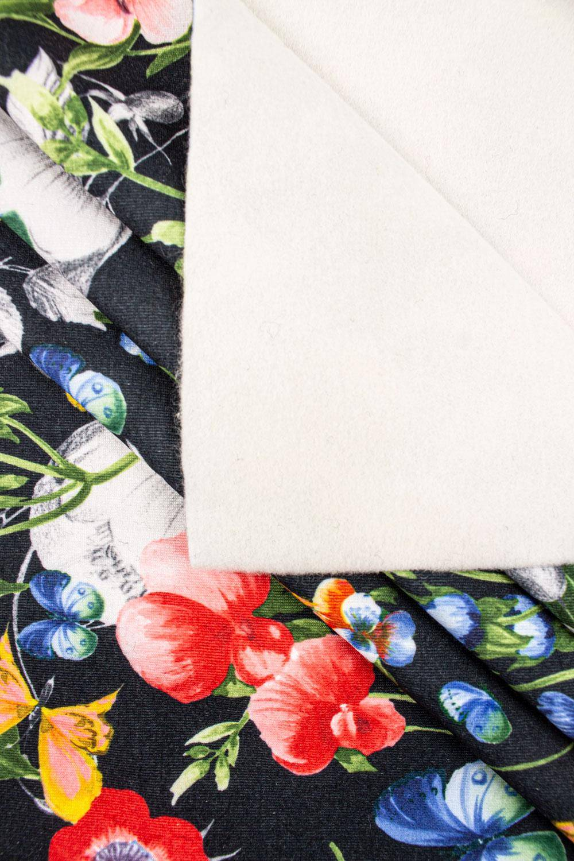 Dzianina dresowa drapana cottonblend - kwiaty - 155cm 335g/m2