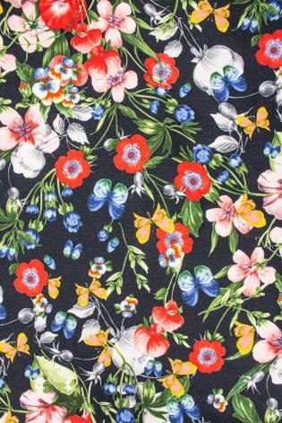 Dzianina dresowa drapana cottonblend - kwiaty - 155cm 335g/m2 thumbnail