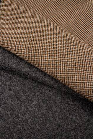 Fabric - Woolen - Checked - Beige With Grey Underside - 160 cm - 410 g/m2 thumbnail
