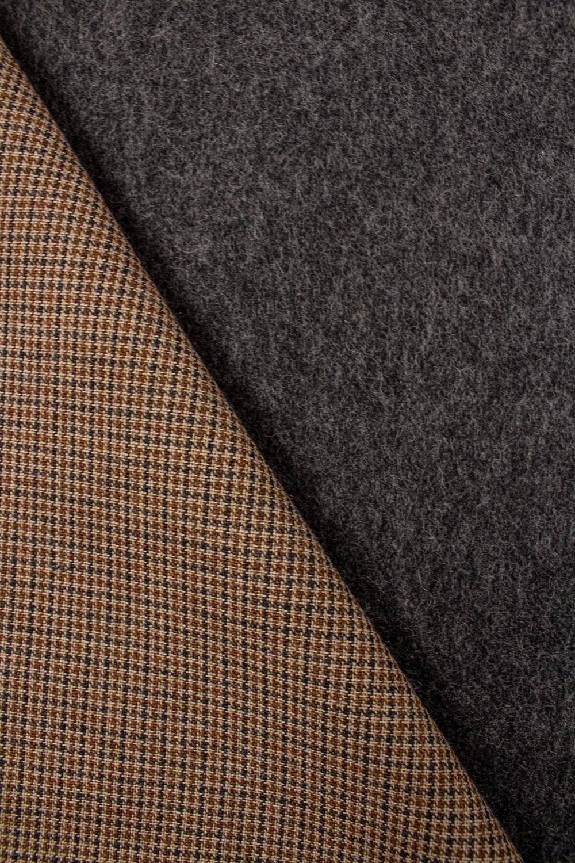 Tkanina wełniana w kratę z szarym podbiciem - 160cm 410g/m2