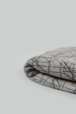 Knit - Sweatshirt Fleece - Grey Melange With Abstraction Pattern - 175 cm - 360 g/m2 STOCK thumbnail