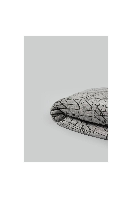 Dresówka drapana w abstrakcyjne kreski - szary melanż - 175cm 360g/m2 STOK