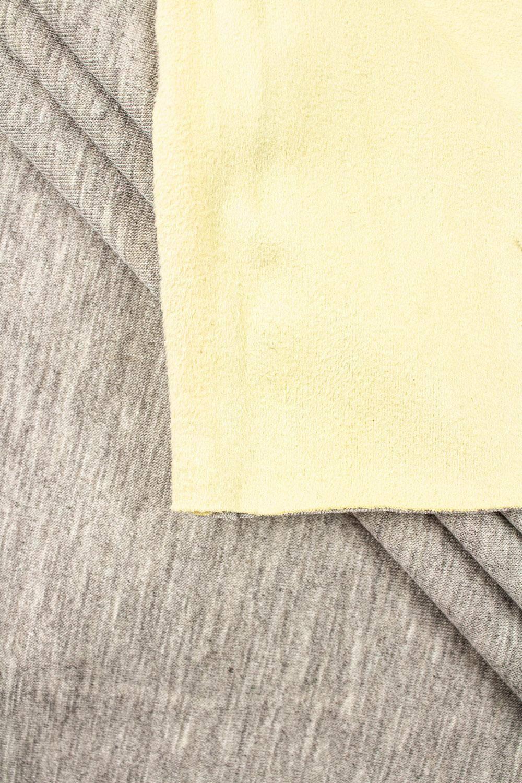 Dzianina dwustronna alpenfleece łączona - jersey/zamsz - szaro-żółty -155cm 350g/m2